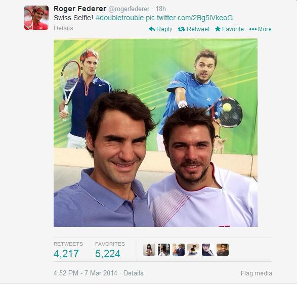 Screencap of Roger tweet Swiss selfie Stan doubles 1st round IW 2014