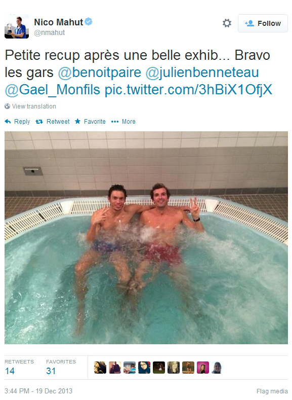 Nicolas Mahut Julien Benneteau ice bath hot tub pool sexy half naked tennis players wet water photos images pics