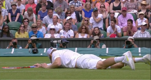 Luke Saville face plant fall slippery grass Grigor Dimitrov match