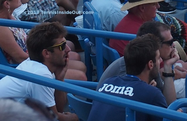 Marck Lopez and Marcel Granollers, watching Rafa Nadal and Tomas Berdych Cincinnati Open 2013