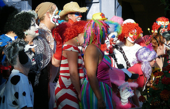Clowns in line at Cincinnati Masters Western and Southern Open funny photo by iamcootis at Flickr