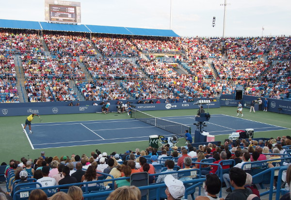 Fedal Federer Nadal quarterfinal match full view Center Court stadium Cincinnati Masters Western and Southern Open crowd photos pictures images