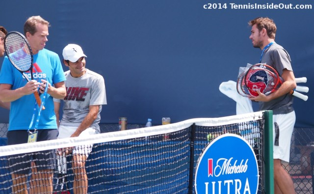 Edberg Federer Wawrinka chat together Western and Southern Open