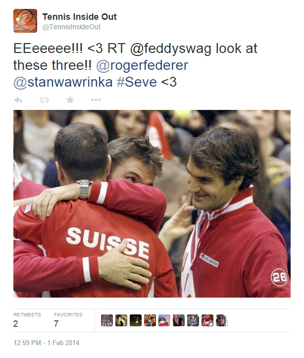 Beautiful Seve Luthi hug Stan Wawrinka dreamy smile Roger Federer