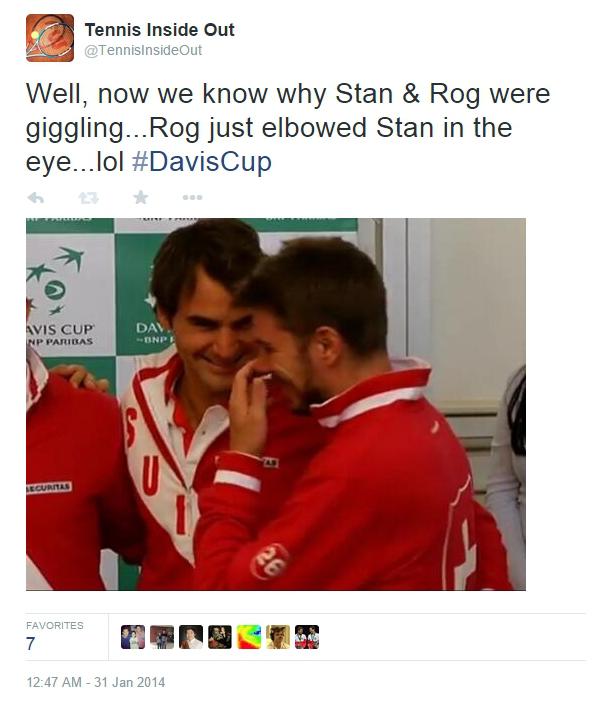 Roger Federer elbows Stan Wawrinka in eye Davis Cup Novi Sad Serbia tie 2014 pictures