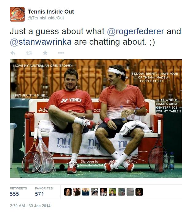 Roger Federer Stanislas Wawrinka Australian Open trophy jokes Davis Cup practice Serbia tweets