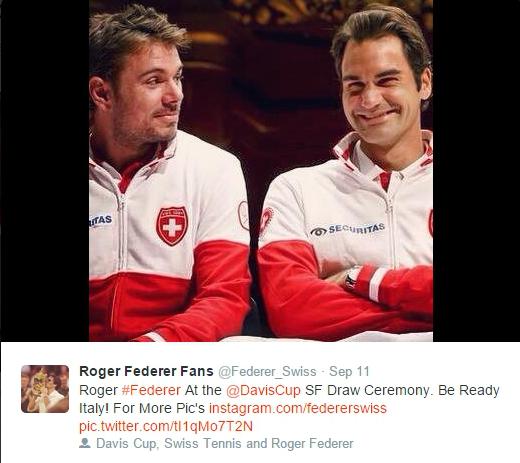 Stan Wawrinka Roger Federer stare giggle smiles laughs Davis Cup Italy Geneva 2014