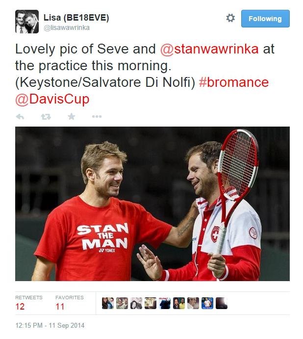 Stan Wawrinka petting Severin Luthi  Italia Davis Cup