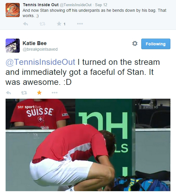 Stan Wawrinka bent over nice ass underpants underwear showing bum arse Davis Cup Italy Fognini match 2014 pics