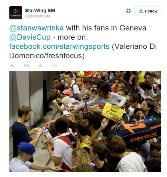 Stan Wawrinka fans signing autographs huge crowd Geneva Switzerland photos