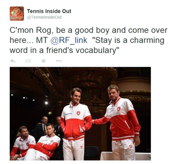 Roger Federer being led by Stan Wawrinka stage Davis Cup Italy
