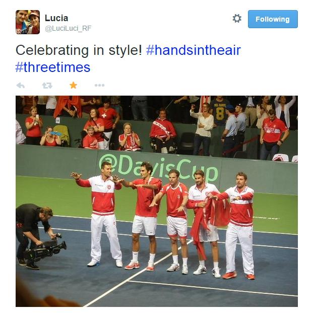 Davis Cup Swiss Team wins celebration