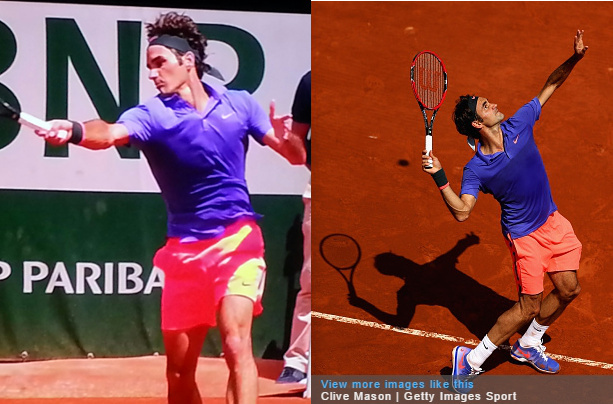 Roger Federer pink purple blue coral peach orange violet outfit kit Roland Garros French Open 2015 pictures outfit photos polo shorts party pants images