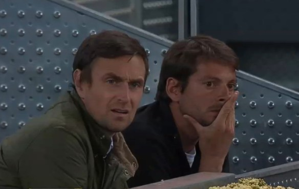 Lawrence Frankopan Yannick Fattebert Stan's player box Mutua Madrid Open 2015 Sousa Wawrinka match pics