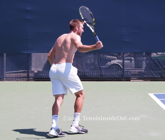 tennis backhand swing practice sunny cute shirtless American players nice ass bum naked back muscles