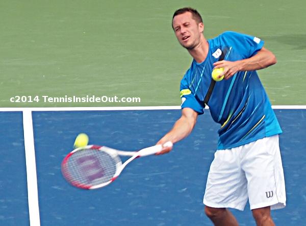 Philipp Kohlschreiber hitting tennis ball fans winning match Cincinnati Open 2014