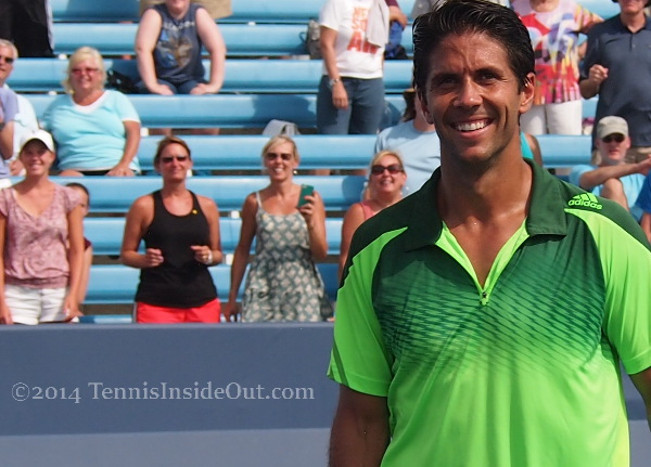 Nando grin victory tennis match Cincinnati