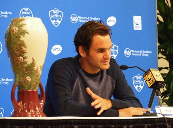 Roger Federer Western and Southern Open Cincinnati Masters champion 2015 pics photos images press conference trophy