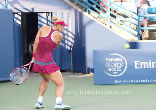 Cincinnati premier tennis Sabine Lisicki going for the backhand wind up