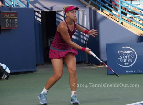 Western and Southern Open Cincinnati premier Radwanska match Sabine Lisicki slice forehand drop shot sexy thighs pics photos images