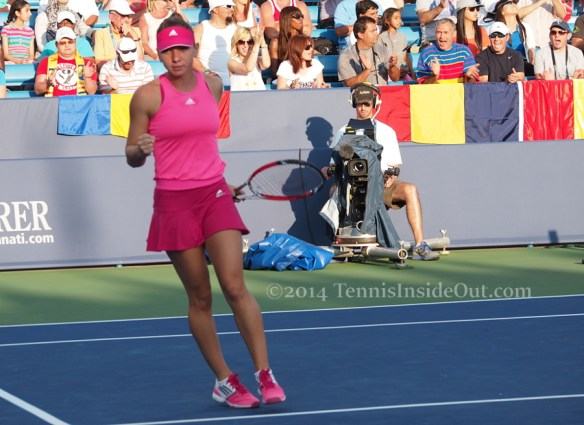 Western and Southern Open WTA premier Simona Halep fist pump happy Romanian fans pics images photos