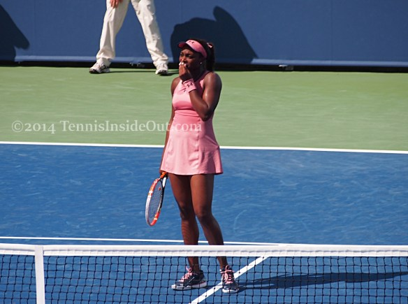 Sloane Stephens shriek mistake gasp hand to face Cincinnati tennis