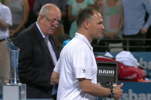 Brisbane final trophy ceremony Mo Lahyani accepting Rado watch gift photos pics images screencaps
