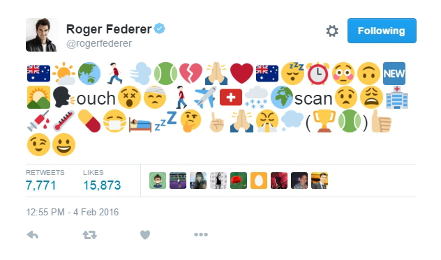 Roger Federer emoji tweet after knee surgery 2016