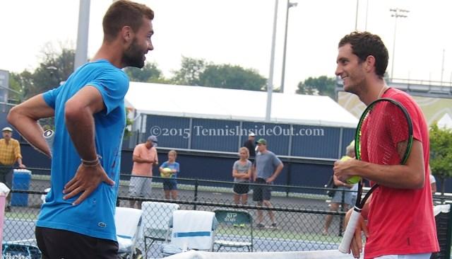 Benoit and James having a laugh Cincinnati practice