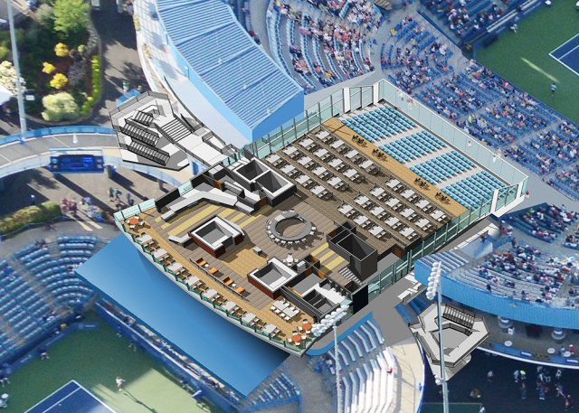 Western and Southern Open Cincinnati South Building second floor interior view restaurant area Center and Grandstand views
