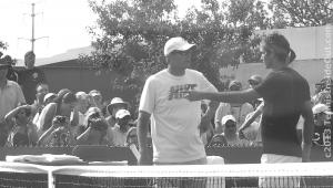 Paul Annacone coaching Roger Federer pointing practice Cincinnati Western and Southern Open photos pics