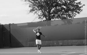 backhand follow-through tennis Roger Federer Get Your Swoosh On T-shirt white shorts tree