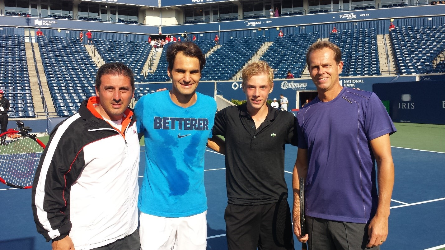 Image result for denis shapovalov & Roger federer
