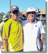 Legend Marty Riessen with John Newcombe Tennis Ranch pro Sal