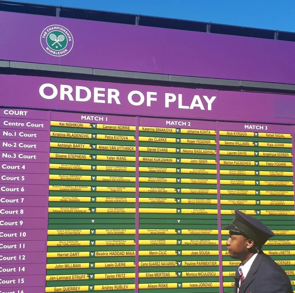 Wimbledon order of play for the day