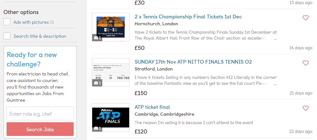 Screenshot of Gumtree Tennis Tickets