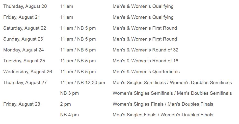Cincinnati Open Schedule