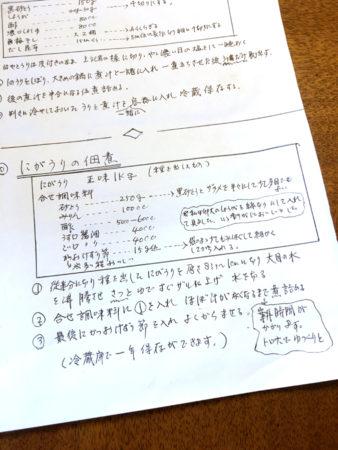 母の手書きのレシピ