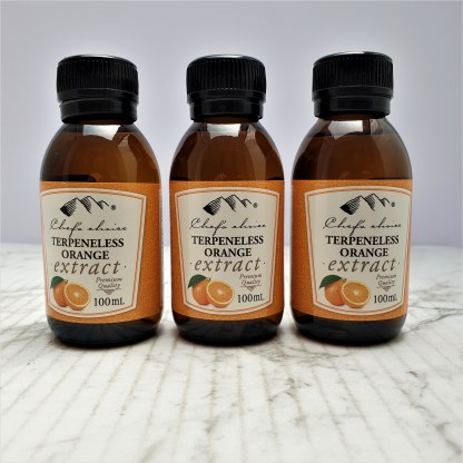 bottle of terpeneless orange extract