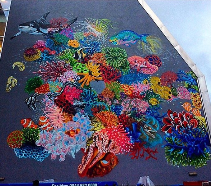 #LondonLovesCoral Mural by Louis Masai with Synchronicity Earth, in London