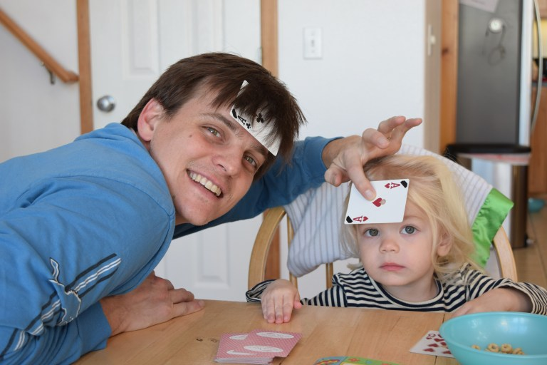 Toddler playing cards
