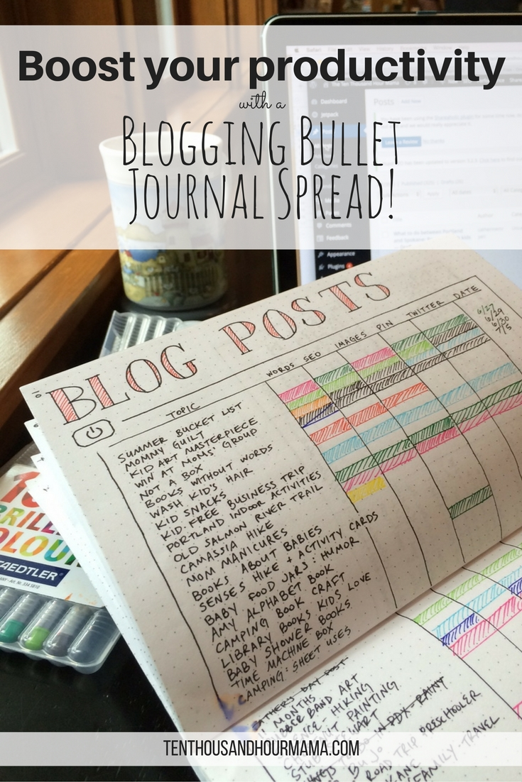 When I started this bullet journal page, my blogging productivity and organization skyrocketed! This is some serious BuJo inspiration. Ten Thousand Hour Mama