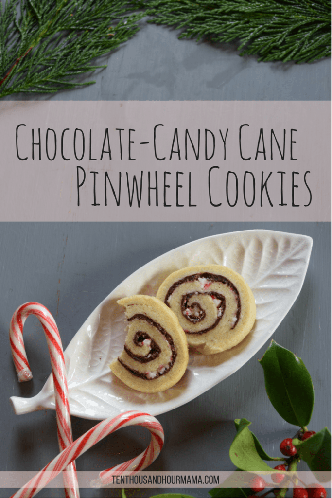These chocolate candy cane pinwheels are festive, pretty Christmas cookies—perfect for a cookie exchange party! Ten Thousand Hour Mama