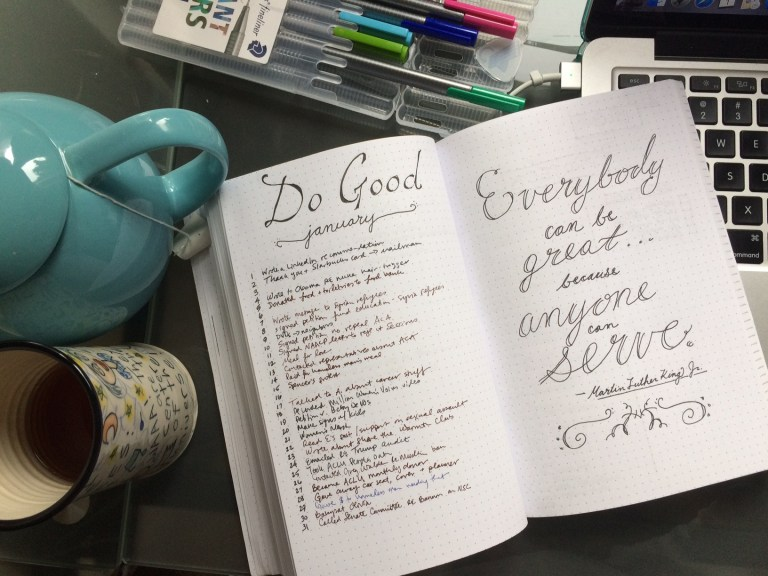 Do good bullet journal spread for January // New Year's Resolution // Martin Luther King Jr. quote - Ten Thousand Hour Mama