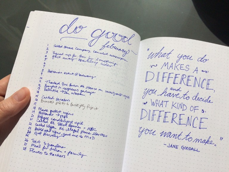 Bullet journal spread February // doing good // quote // handwriting // Ten Thousand Hour Mama