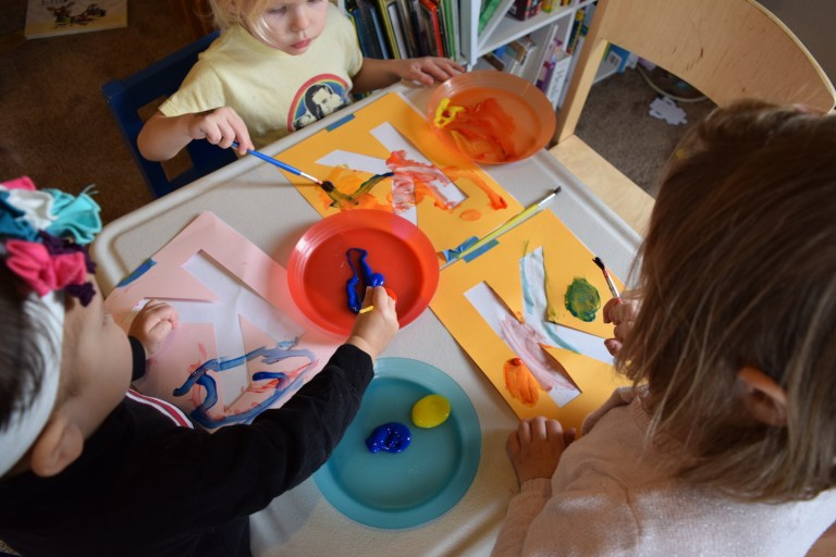 Mixing colors activities for homeschool preschool lesson - letter of the day stencil. Ten Thousand Hour Mama