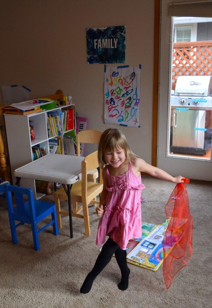 Mixing colors activities for homeschool preschool lesson - scarf dancing. Ten Thousand Hour Mama