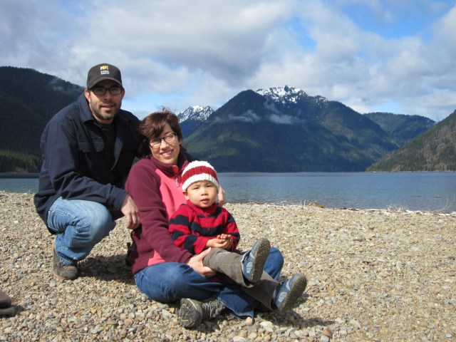 Baba, Mama and Tai at beautiful Lake Cushman. Man, I love this place - and these people!