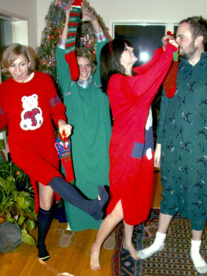 Ugly Christmas pajamas family photo