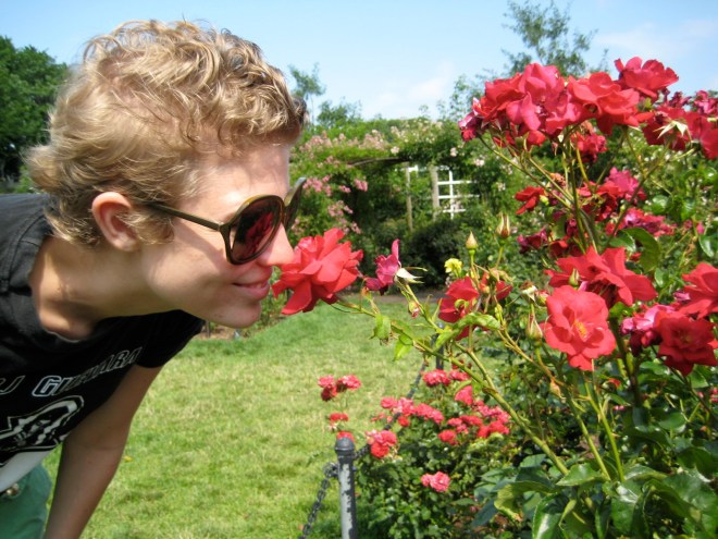 Brooklyn Botanical Gardens smelling roses flowers